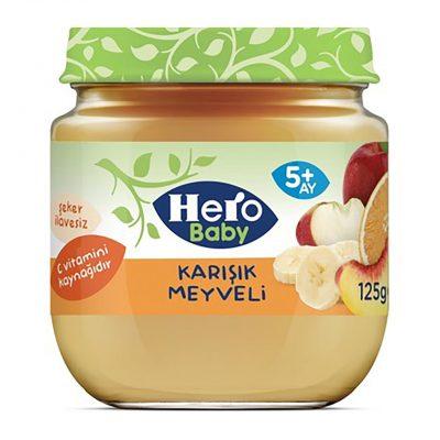 پوره مخلوط میوه (سیب و موز و پرتقال و زردآلو) هرو بیبی herobaby