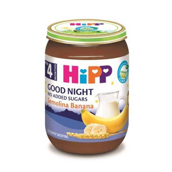 پوره و سرلاک آماده موز و آرد سمولینا با شیر مخصوص شب هیپ Hipp