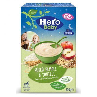 غذای کمکی هشت غله همراه سیب با شیر مخصوص شب هرو بیبی Hero Baby