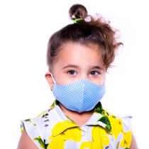 ماسک کودک 3 لایه پارچه ای قابل شستشو مدل آبی خال خالی