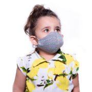 ماسک کودک 3 لایه پارچه ای قابل شستشو مدل طوسی