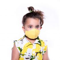 ماسک کودک 3 لایه پارچه ای قابل شستشو مدل زرد خال خالی