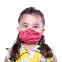 ماسک کودک 3 لایه پارچه ای قابل شستشو مدل قرمز خال خالی