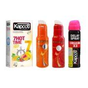 پکیج زناشویی گرم (کاندوم 7 کاره گرم - روان کننده گرم - تنگ کننده - اسپری تاخیری)